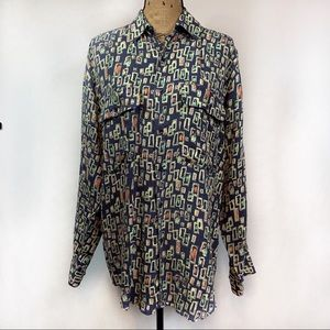 Vintage Goouch Silk Long Sleeve Button Down Top